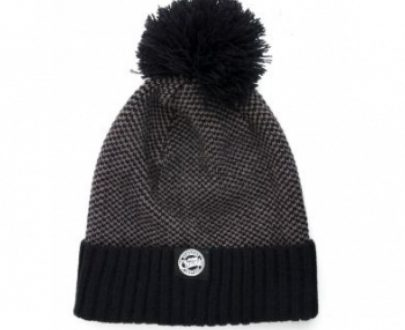 Fox Chunk Grey/Black Bobble Hat